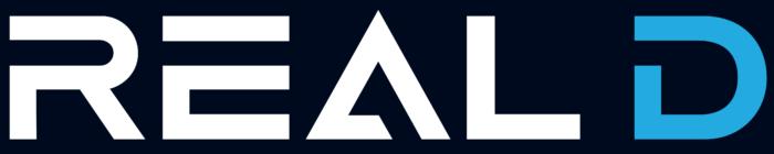 RealD logo, blue background