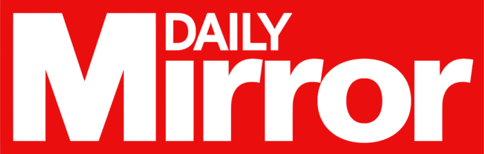 The Daily Mirror logo, red background