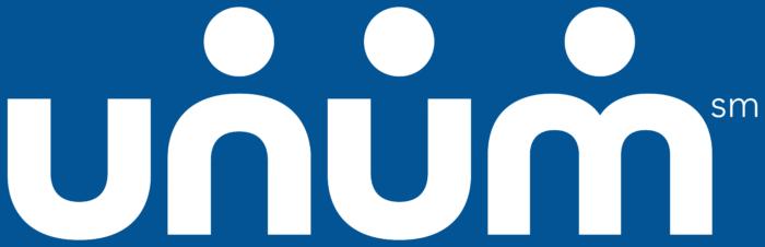 Unum white logo on the blue background