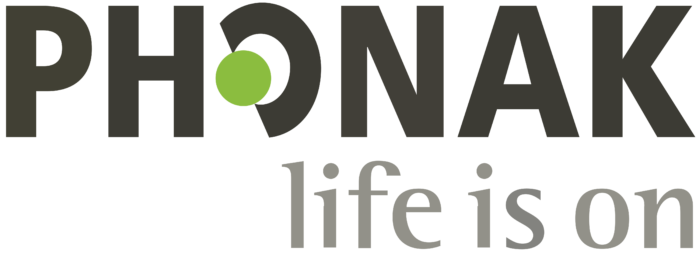 Phonak logo, slogan (life is on)