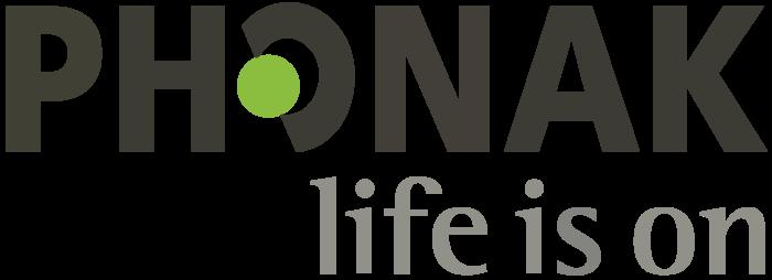 Phonak logo, slogan (life is on)