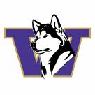 W Huskies logo violet