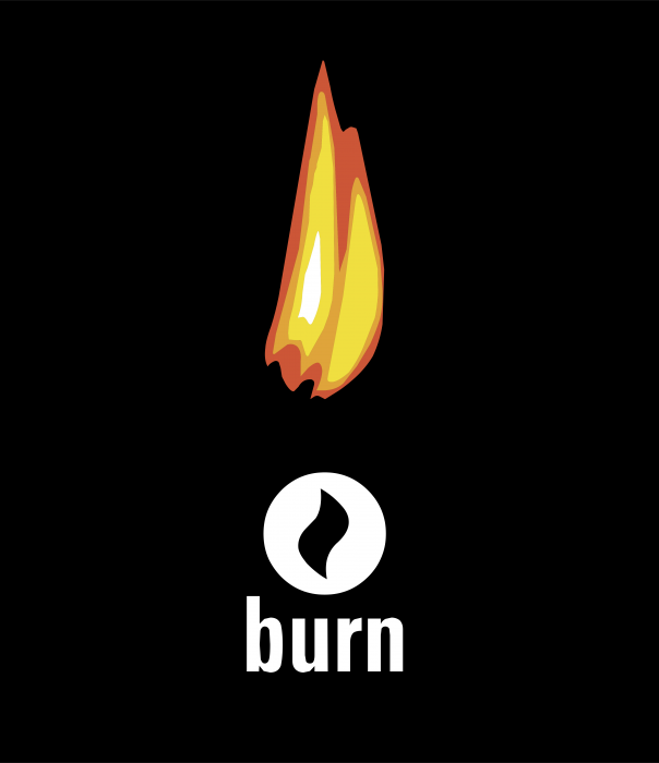 Burn logo cube