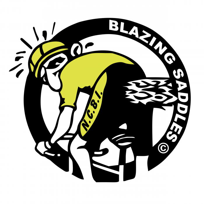 Blazing Saddles logo yellow