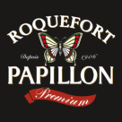 Papillon Roquefort Logo white text