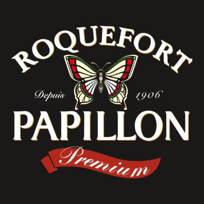 Papillon Roquefort Logo white text