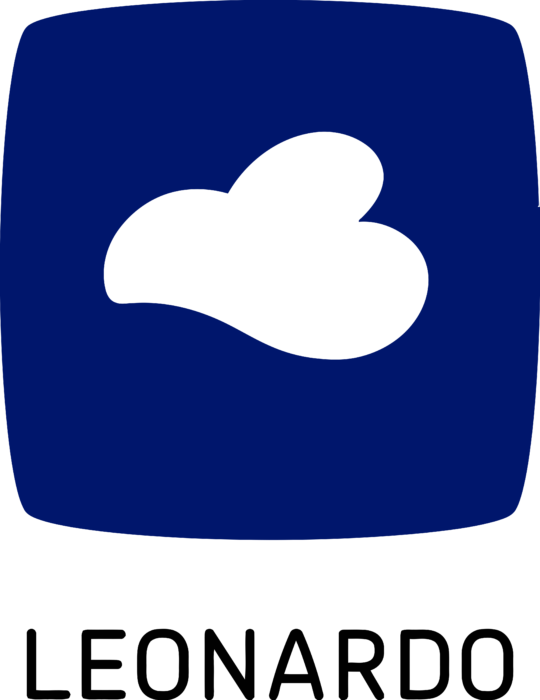 Leonardo Glass Logo black text