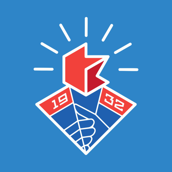 Komsomolsk on Amur Logo blue background