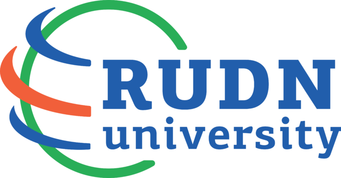 Peoples' Friendship University of Russia Logo blue text